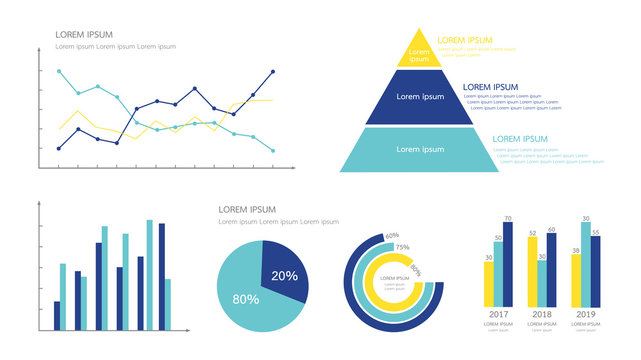 Infographics chart element for business  presentation in many shape such as line and point, pyramid, bar, pie and circle percentage. Minimal flat design vector illustration. Yellow and blue color.