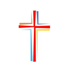 Christian cross icon. Vector illustration.