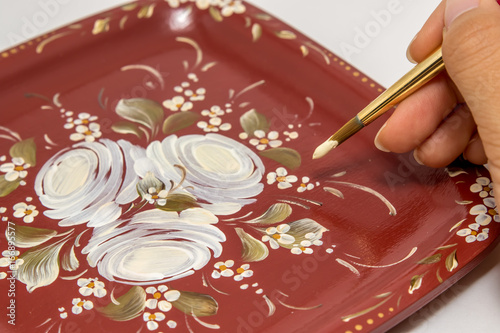 Rose Drawing on Tray, Tole and Decorative Painting, Assendelft Style