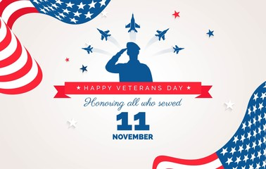 Happy Veteran Day flyer, banner or poster. Holiday background with waving flags, flying airplanes and soldier silhouette Thank you, Veterans. Vector flat illustration
