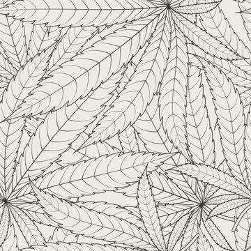 Cannabis leafs - seamless pattern. Vector illustration