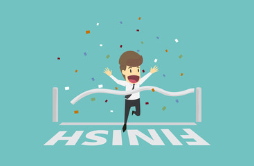Businessman run cross the finish line.Business young cartoon happiness of success concept is man character.View businessman emotions moving include icon of man.Vector Illustration
