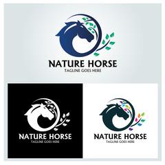 Nature horse logo design template. vector illustration
