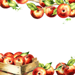 Red apples and leaves square background. Watercolor hand-drawn template