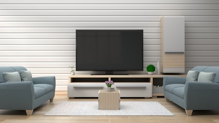 TV on the white wall in modern living room have sofa in room,3d rendering