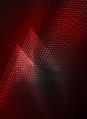 Glowing wave created with particles on dark color background
