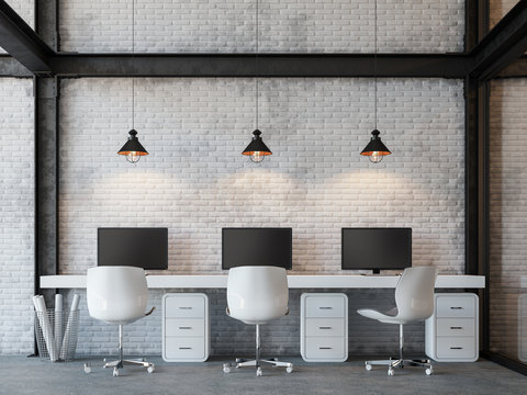 Loft style office 3d rendering image.There are white brick wall,polished concrete floor and black steel structure.Decorate with hanging lamp.Furnished with white furniture.