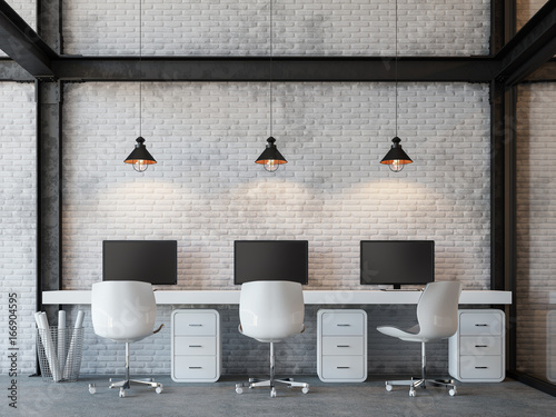 Loft Style Office 3d Rendering ImageThere Are White Brick Wallpolished Concrete Floor