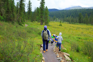 Hiking family in the siberian mountain forest