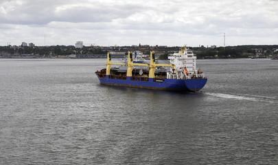 cargo ship leaving the Kiel harbor