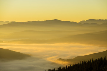Sunrise of the Carpathian mountains in the summer. Ukraine