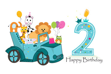 Second birthday car with animals background. Birthday greeting card