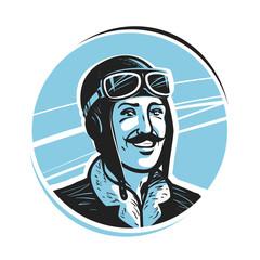 Portrait of happy pilot in cap. Aviator, airman label or logo. Mascot vector illustration
