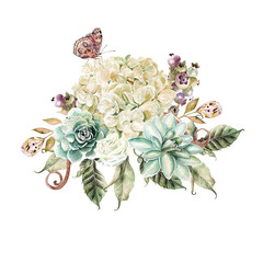 Watercolor bouquet with hydrangea flower, rose and succulents. Illustration