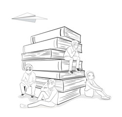 Little people are sitting on a book. vector illustration.