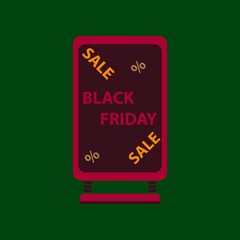 Flat icon of signboard black friday