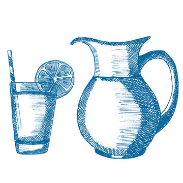 A cup of lemonade with lemon on it and a straw, a decanter with lemonade. Hand drawn vector