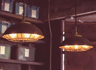 Fotobehang Vintage Poster Modern and vintage fashion lamp Edison interior loft room. Lantern with filament.