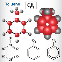 Toluene molecule - structural chemical formula and model