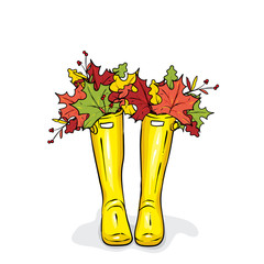 Rubber boots with colorful autumn leaves. Vector illustration for a postcard or a poster, print for clothes. Fashion, style and shoes.