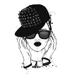 A beautiful girl in sunglasses and a stylish cap. Vector illustration for a postcard or a poster, print for clothes. Fashion & Style.