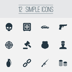 Vector Illustration Set Of Simple Fault Icons. Elements Pistol, Cash, Explode And Other Synonyms Policeman, Sheriff And Pistol.