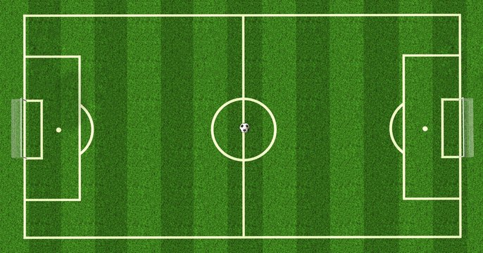Football field / soccer field  on realistic green grass. top view. background