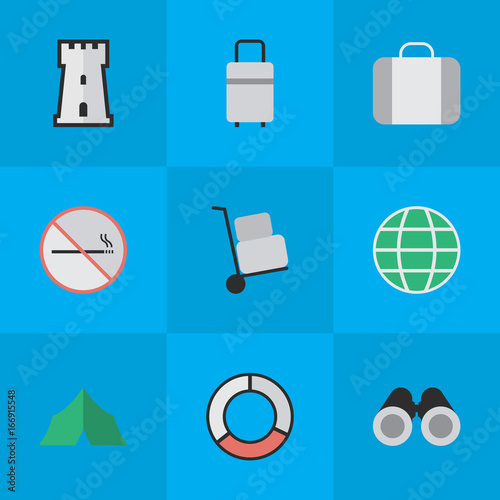 Vector Illustration Set Of Simple Holiday Icons. Elements Sea Rescue Smoke Forbidden World  sc 1 st  Fotolia & Vector Illustration Set Of Simple Holiday Icons. Elements Sea ...