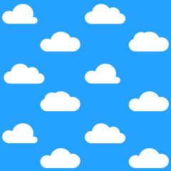 Flat White Clouds on Blue Sky Background Pattern