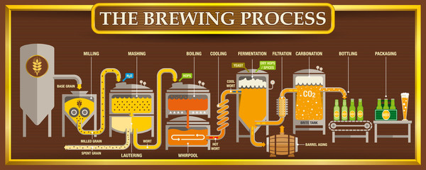 The Brewing Process info-graphic with beer design elements on brown background with golden frame. Vector image