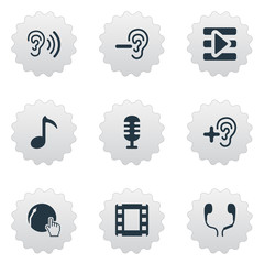 Vector Illustration Set Of Simple Play Icons. Elements Increase, Ear, Web Player And Other Synonyms Hear, Music And Dj.
