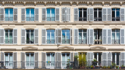 Paris, attractive facades with geometry of the parisian windows, the typical building of Paris  Wall mural