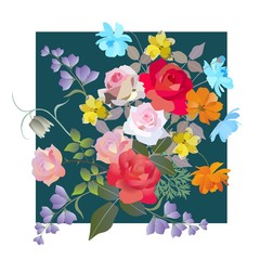 Summer vintage greeting card with bouquet of gardening flowers. Vector template. Cushion, pillowcase, napkin, poster.