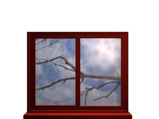 Autumn window with sunlight