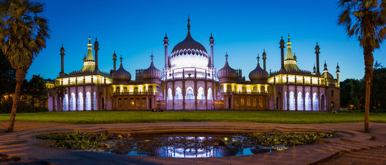 Royal Pavilion in East Sussex at night, Brighton, England
