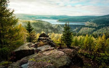 Landschaft Erzgebirge Sachsen Talsperre Flaje