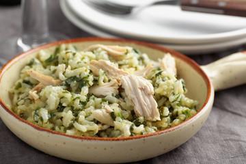 Chicken risotto wiith pesto