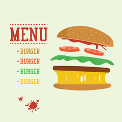 Burger concept. Menu with burger ingredients. Flat design junk food