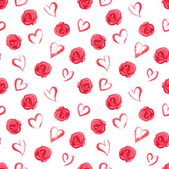 Watercolor seamless pattern with red roses and hearts