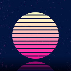 Retro sci-fi background with stylized sun