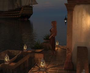 Woman watching a Sailboat at dusk