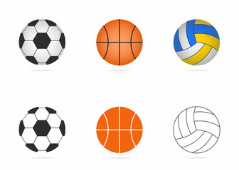Soccer, basketball and volleyball balls set. Realistic balls and simple icons