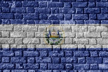 El Salvador Flag Painted on brick wall