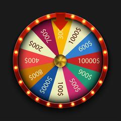 Vector modern fortune wheel on black background.