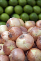 Onions on display on street market stall in Brazil