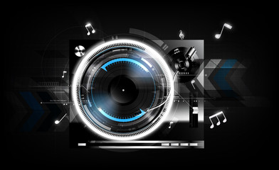 Vinyl record player turntable on black background with technology concept, Vector illustration