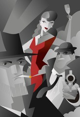 noir pulp black and white mafia mobster, private detective and red dress sexy woman poster