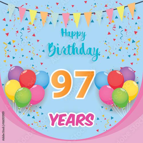 color full 97 th birthday celebration greeting card design birthday