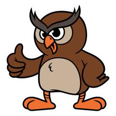 Cartoon Owl Giving Thumbs Up Vector Illustration