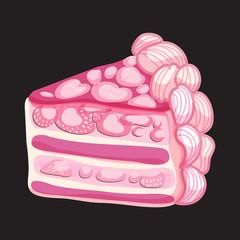 Vector Piece of Strawberry cake